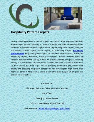 Hospitality Pattern Carpets