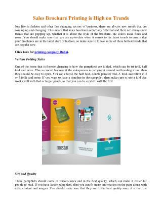 Sales Brochure Printing is High on Trends