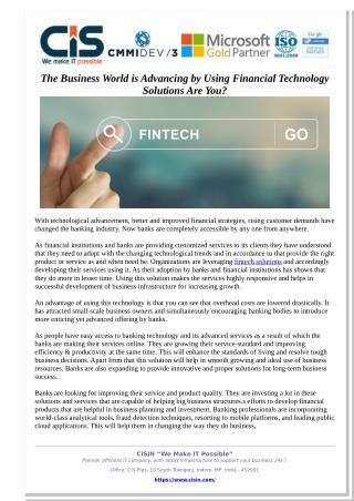 The Business World is Advancing by Using Financial Technology Solutions Are You?