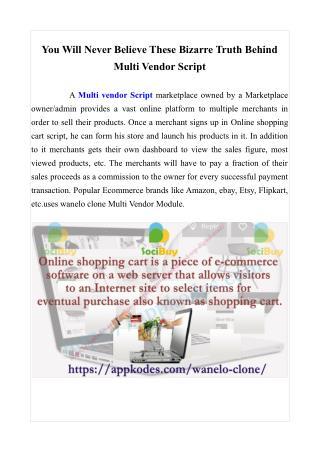 You Will Never Believe These Bizarre Truth Behind Multi Vendor Script