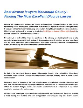 Best divorce lawyers Monmouth County - Finding The Most Excellent Divorce Lawyer