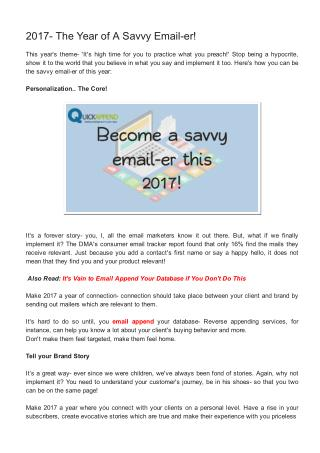 2017- The Year of A Savvy Email-er!