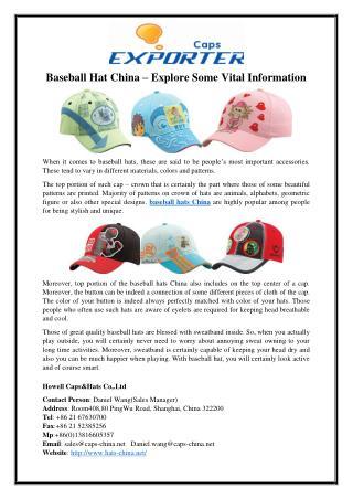 Baseball Hat China – Explore Some Vital Information
