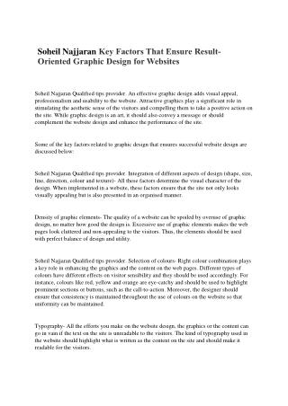 Soheil Najjaran Breaking into a Graphic or Web Design Career