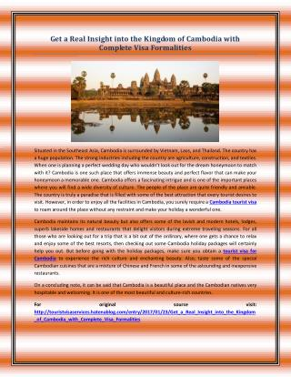 Get a Real Insight into the Kingdom of Cambodia with Complete Visa Formalities