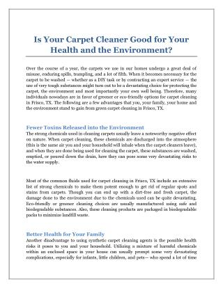 Is Your Carpet Cleaner Good for Your Health and the Environment?