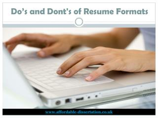 Do's and Don'ts of Resume Formats