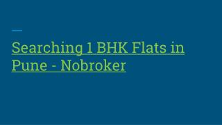 1 BHK Flats for Rent in Pune