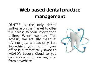 Web based dental practice management