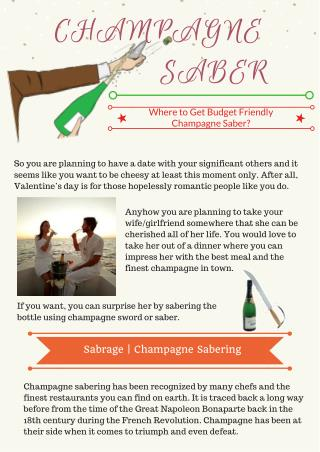 Where to Get Budget Friendly Champagne Saber?