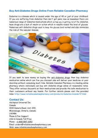 Buy Generic Anti-Diabetes Drugs Online