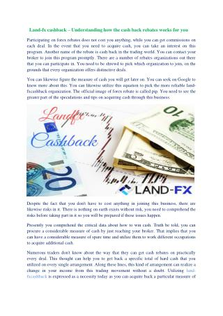 Land fx cashback – understanding how the cash back rebates works for you