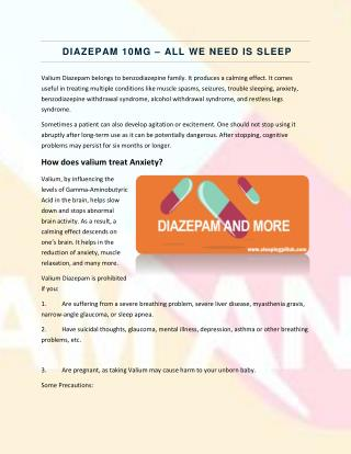 Diazepam 10mg - All We Need is Sleep