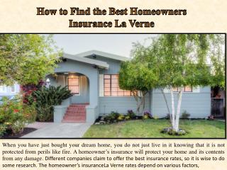 How to Find the Best Homeowners Insurance La Verne