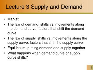 Lecture 3 Supply and Demand