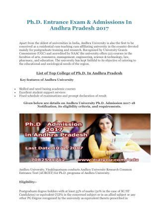 Ph.D. Entrance Exam & Admissions In Andhra Pradesh 2017