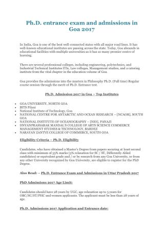Ph.D. entrance exam and admissions in Goa