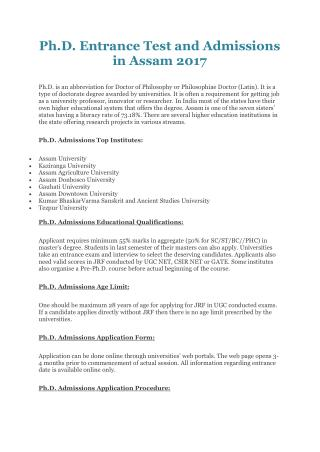 Ph.D. Entrance Test and Admissions in Assam