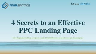 4 Secrets to an Effective  PPC Landing Page