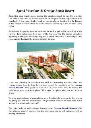 Spend Vacations In Orange Beach Resort