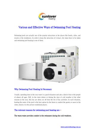 Various and Effective Ways of Swimming Pool Heating