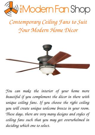 Contemporary Ceiling Fans to Suit Your Modern Home Décor