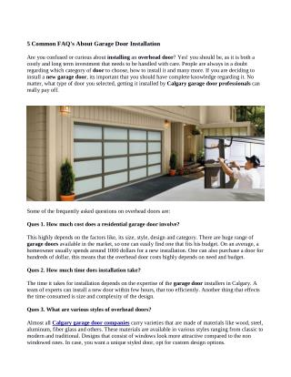 Tips To Install A New Garage Door In Calgary