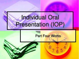 Individual Oral Presentation IOP