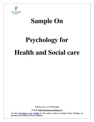 Sample On Psychology for Health and Social care By Instant Essay Writing
