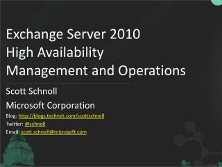 Exchange Server 2010 High Availability Management and Operations