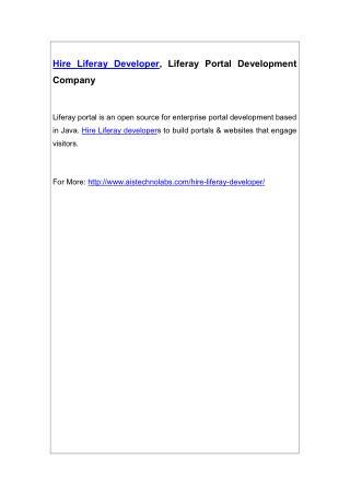 Hire Liferay Developer, Liferay Portal Development Company