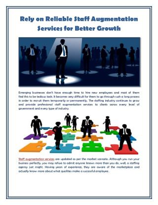 Rely on Reliable Staff Augmentation Services for Better Growth