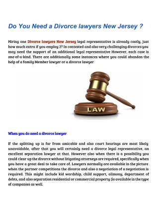 Do You Need a Divorce lawyers New Jersey ?