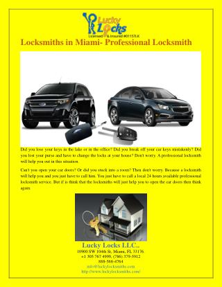 Locksmiths in Miami- Professional Locksmith