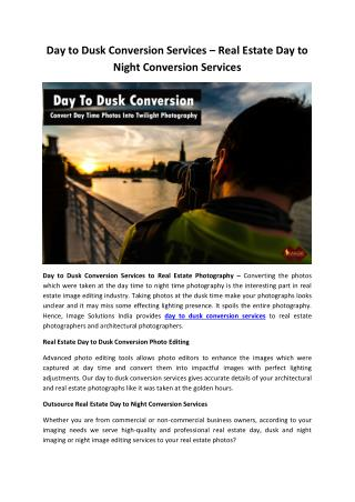 Day to Dusk Conversion Services – Real Estate Day to Night Conversion Services