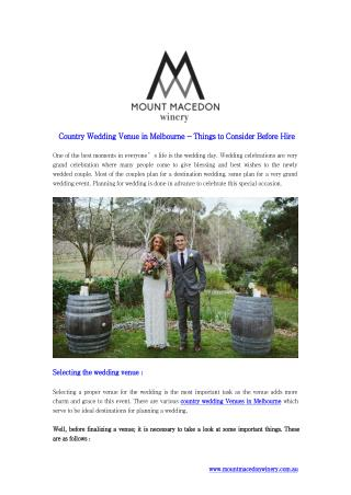 Country Wedding Venue in Melbourne - Things to Consider Before Hire