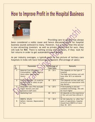 Learn How to Improve Profit in the Hospital Business By Dr. Vikram Singh Raghuvanshi