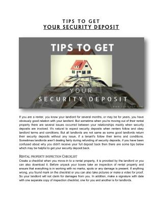 TIPS TO GET YOUR SECURITY DEPOSIT
