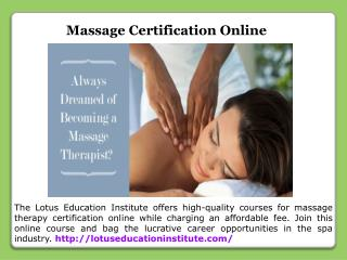 Certification For Massage Therapist