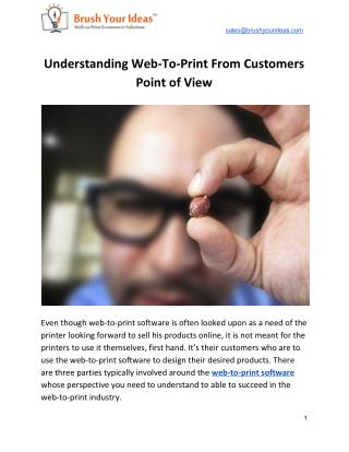 Understanding Web-To-Print From Customers Point of View