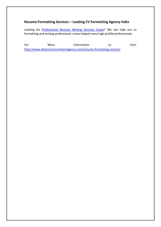 Resume Formatting Services – Leading CV Formatting Agency India