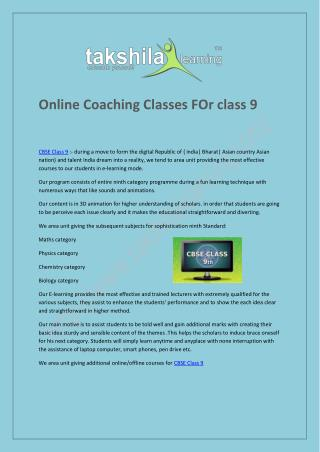 Online Coaching Classes FOr class 9