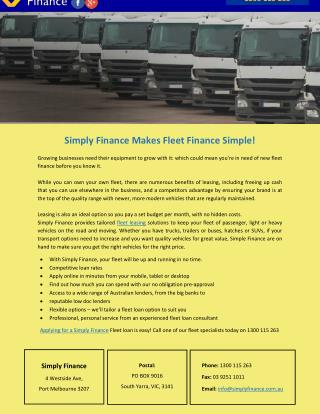 Simply Finance Makes Fleet Finance Simple!