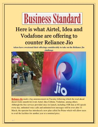Here is what Airtel, Idea and Vodafone are offering to counter Reliance Jio