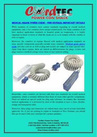 Medical Grade Power Cords – Find Several Important Details