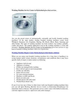 Washing Machine Service Centre in Hyderabad