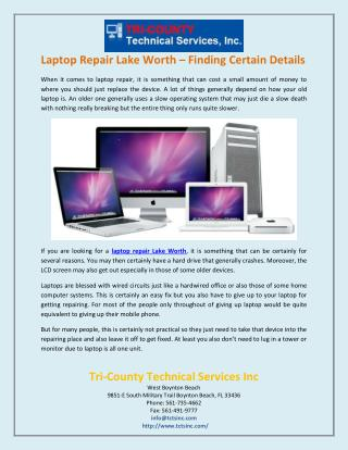 Laptop repair Lake Worth – Finding certain details