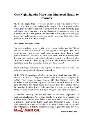 One Night Stands: More than Manhood Health to Consider