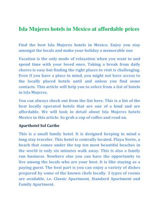 Isla Mujeres hotels in Mexico at affordable prices