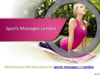 Best Sports Massage Centre in London